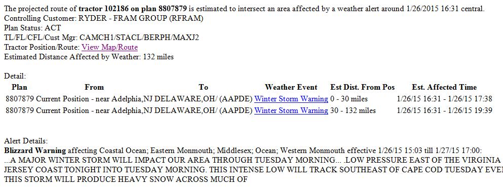 sample TA weather alert warning